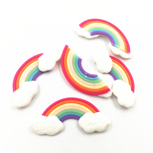 5Pcs Colourful Cameo Cabochon Decoration Rainbow With Cloud Rubber Flat Back Fashion Jewelry DIY Findings 31mm