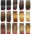 """Frete grátis 16 """" - 32 """" 100% brasileiro remy grampos de cabelo / extensões de cabelo humano 10 Pcs grosso 26 cores"""