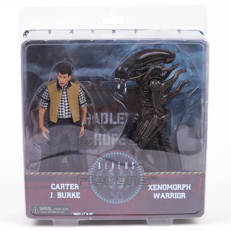 NECA Aliens Hadley's Hope Carter J Burke & Xenomorph Warrior PVC Action Figure Collectible Model Toy 2-pack neca alien lambert compression suit aliens defiance xenomorph warrior alien pvc action figure collectible model toy 18cm