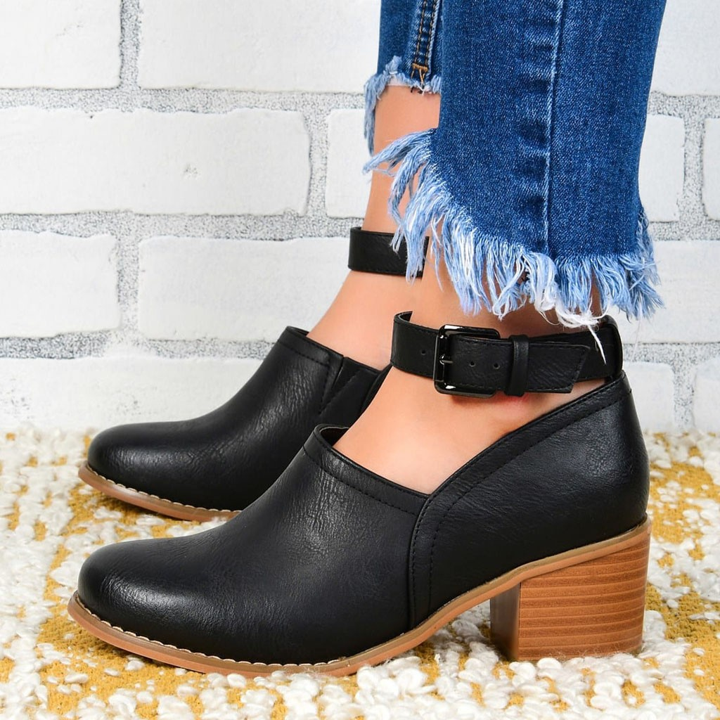 Women's Retro Pumps Leather 2019 Fashion Autumn Shoes Gladiator Lady Party Pump Ankle Buckle Strap Mid Heels Pointed Toe Rome