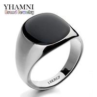 GALAXY 2015 Hot Sale Fashion Black Wedding Rings For Men Brand Luxury Black Onyx Stones Crystal