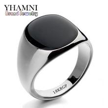 Hot Sale Fashion Black Wedding Rings For Men Brand Luxury Black Onyx Stones Crystal Ring Fashion 18KRGP Rings Men Jewelry R0378