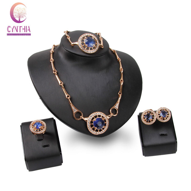 Women  Gold Plated Blue Gem Crystal Wedding Necklace Earrings Bracelet Ring Bridal Dress Accessories Jewelry Sets