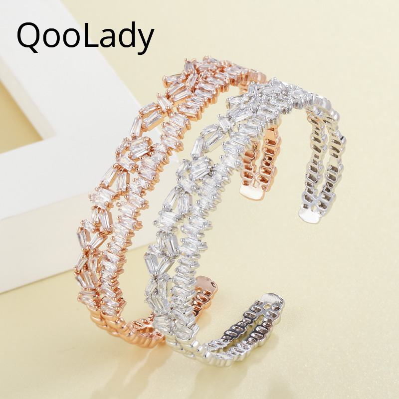 QooLady Luxury Adjustable Irregular Cubic Zirconia Stone Exquisite Rose Gold Open Cuff Women Jewelry Bangles for Wedding K002 in Bangles from Jewelry Accessories