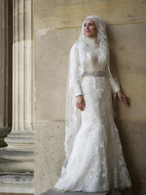 Lengan Panjang Manik Manik Renda Terompet Putri Duyung Muslim