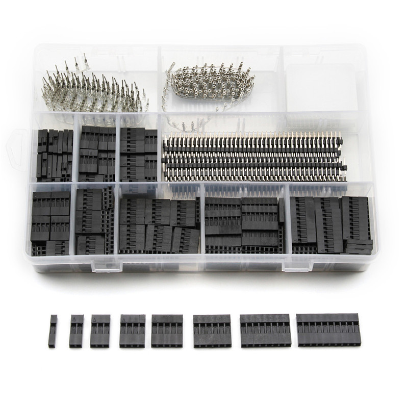 цена на YT 670pcs Single Row Straight 40Pins 2.54mm Male Pin Jumper Connector Wire Cable Housing Female Dupont Terminal Connector Kit