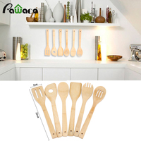 Household Cooking Utensil Set 6 PCs Natrual Bamboo Wooden Utensil Kitchen Cooking Spoon Spatula Holder Mixing