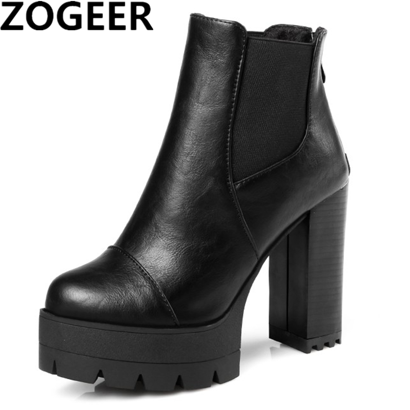 ZOGEER Hot 2018 Sexy Women Boots Fashion Platform punk Square high heels Black Ankle boots For Woman Brand Design Ladies Shoes цена 2017