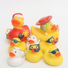 8pcs Bath Toys floating Rubber Duck Cute Baby Water toys Clarinet duck Christmas  Gift For Boys