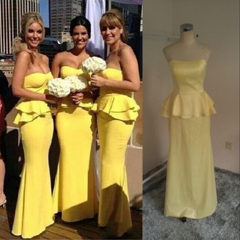 Strapless Plus Size Custom Made Yellow Bridesmaid Mermaid 2016 Dress