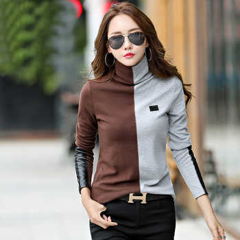 New 2019 Female T-shirt Turtleneck Contrast Color Long Sleeve T Shirt Women Autumn Winter T-Shirts For Women Patchwork Tshirt - DISCOUNT ITEM  10% OFF All Category
