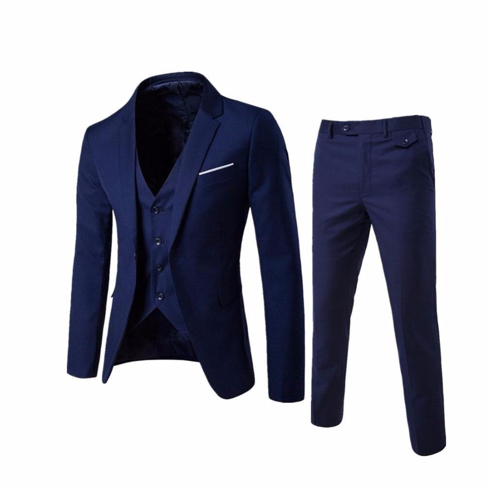 (Veste + pantalon + gilet) de luxe hommes Costume de mariage hommes Blazers Slim Fit costumes pour hommes Costume affaires formel fête bleu classique noir