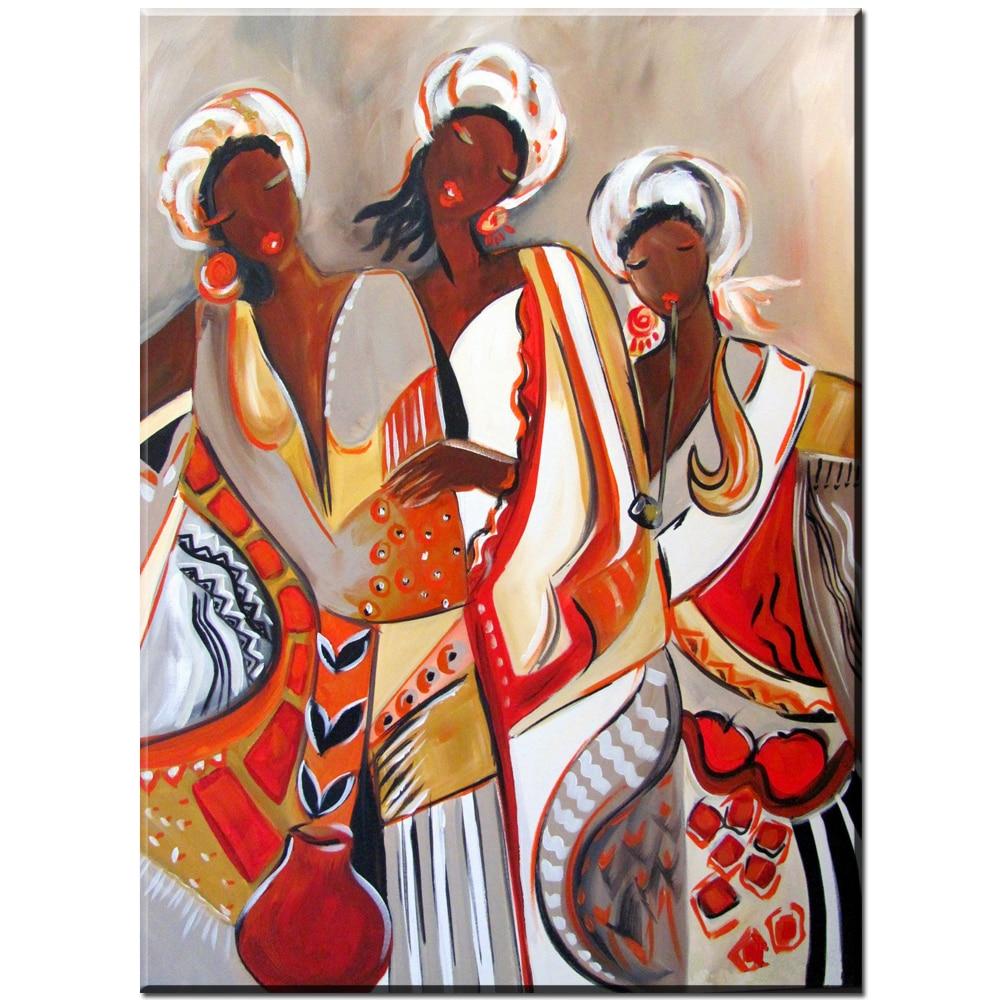 €6.29 45% de réduction|Xdr843 femme africaine danse fille toile peinture à  l\'huile imprime affiche pour décoration de chambre-in Peinture et ...