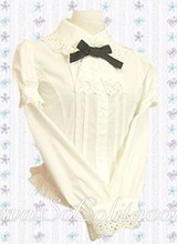 Lolita Black Bowtie Two Layers Sleeves White Blouse