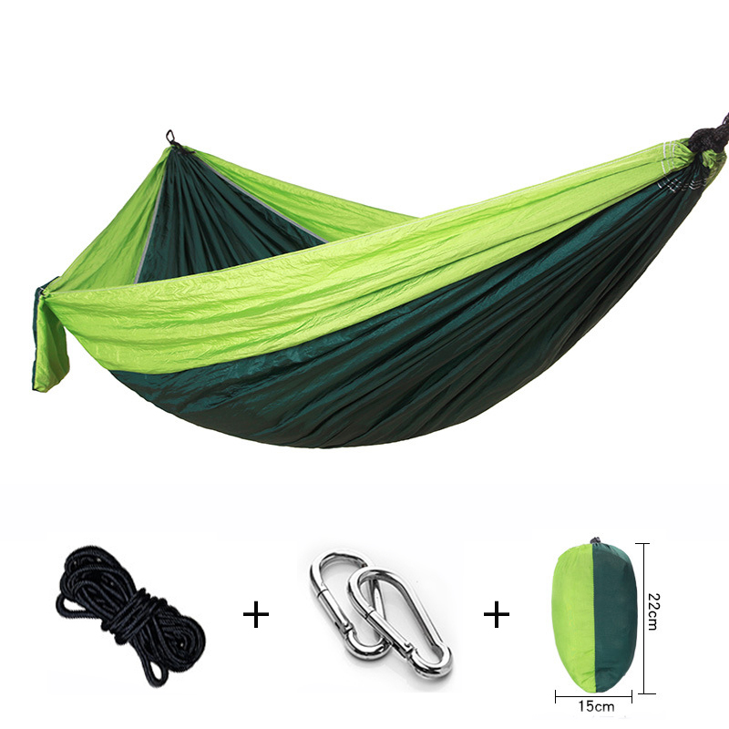 Nylon Widened Camping Hammock 270*140cm Double People Hammc Hanging Chair Portable Hammocks Outdoor Swing Bed Kids Furniture