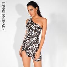 Love&Lemonade  Leopard Print Zippers One Shoulder Elastic Faux Leather Bodycon Party Dress LM81597 1