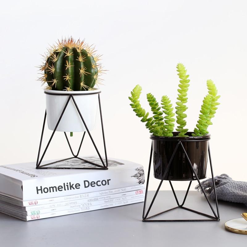 1pc Modern Flowerpot White Ceramic Succulent Plant Pot with Golden Black Iron Stand Home Decorative Metal Planter Vase