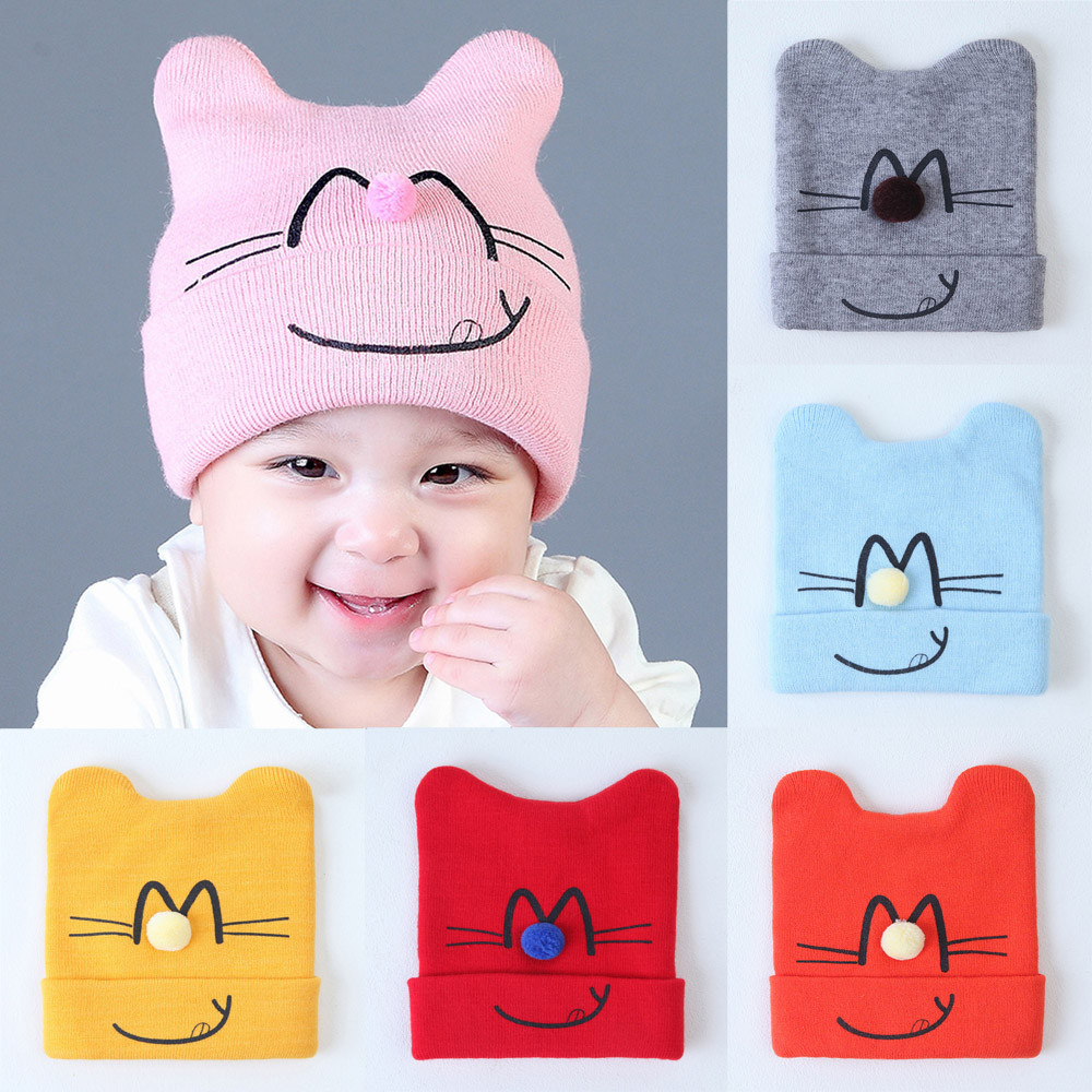 Childrens winter warm hat Childrens cap for girls boys Baby Beanie Cat Cotton Hat Children Print Hats For photo shoot props