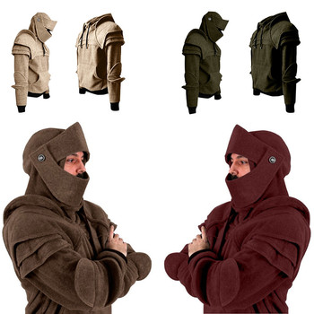 Winter Men Hooded Vintage Warm Mask Elbow Button Pullover Long Sleeve Hoody Men's Sweatshirt Tops Morden Blouse