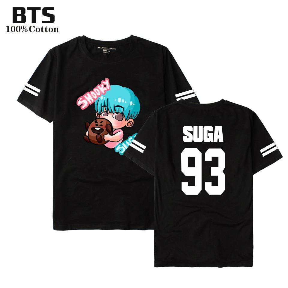 BTS BTS K-pop BT21 T-shirt Femmes/Hommes D'été Belle À Manches Courtes Casual Coton Anime T-shirts Femmes À Manches Courtes Tops Tee Vêtements