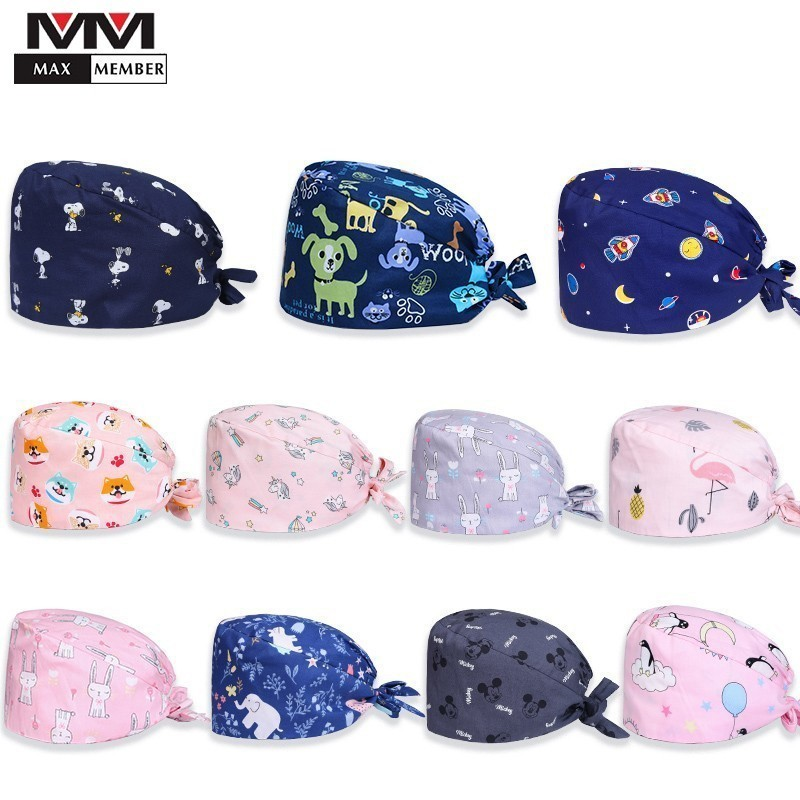 Surgical Cap Cotton Print Adjustable Household Dust Cap Doctor Nurse Medical Cap Unisex Dental Clinic Beauty Salon Work Cap