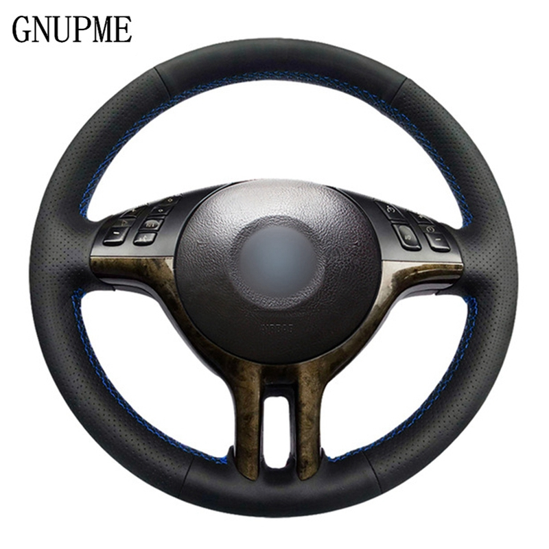 GNUPME Quality Hand stitched Black Artificial Leather Car Steering Wheel Cover for BMW E39 E46 325i E53 X5 Steering Covers     -