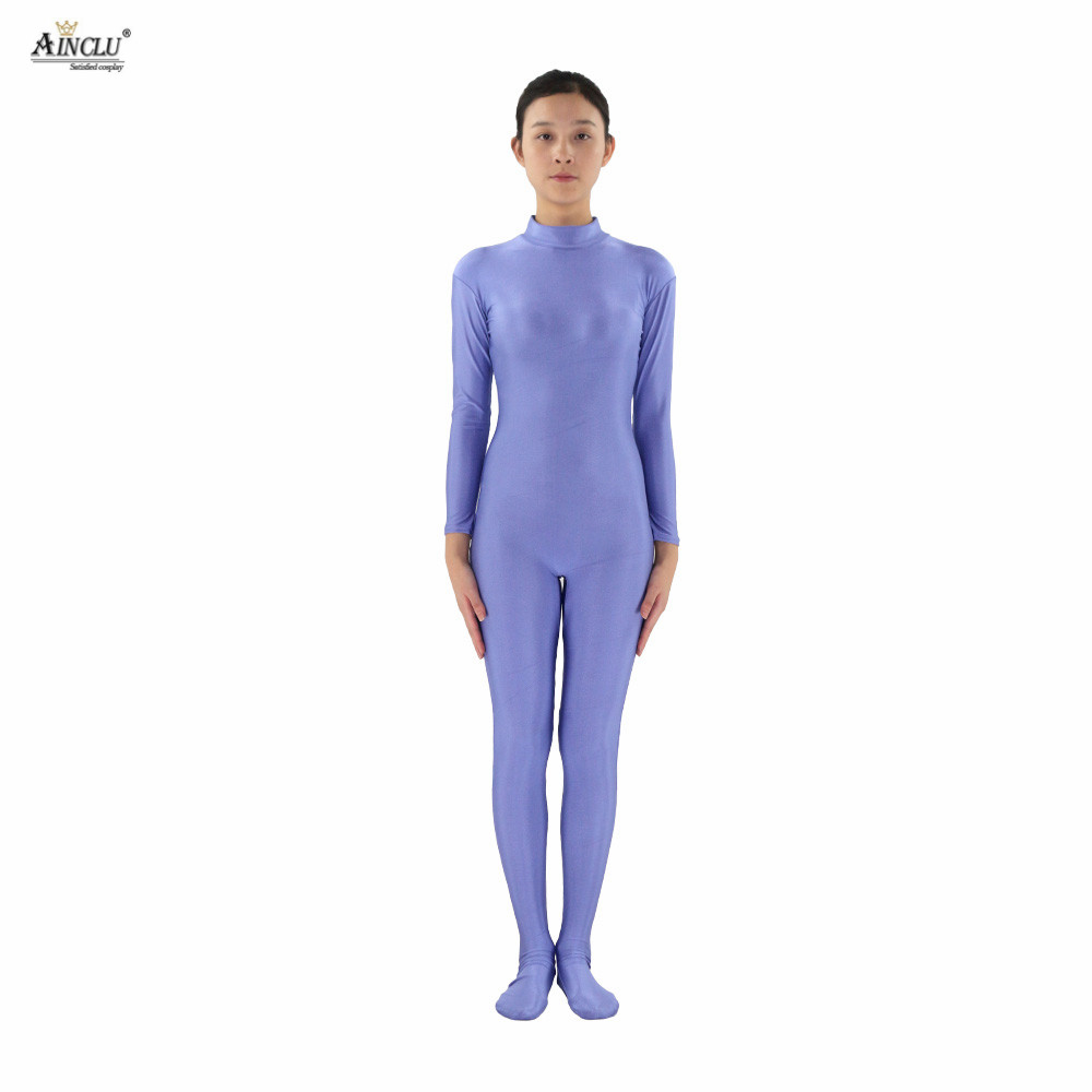 Ainclu Women Spandex Nylon Lycra Purple Head-handless Body Second Skin Tight Color Custom Skin Suit Cosplay Costume Zentai