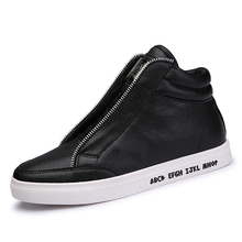 Fashion Vintage Shining Gothic Leather Casual Zipper Hip-Hop Men Hip Hop Dance Shoes Jogging Size 9.5 Black White Emo Punk Swag