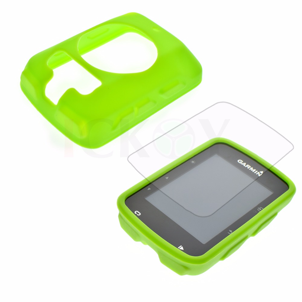 Outdoor Bike Bicycle Cycling Silicone Rubber Green Skin Case + LCD Screen Cover Protector For Garmin GPS Edge 520