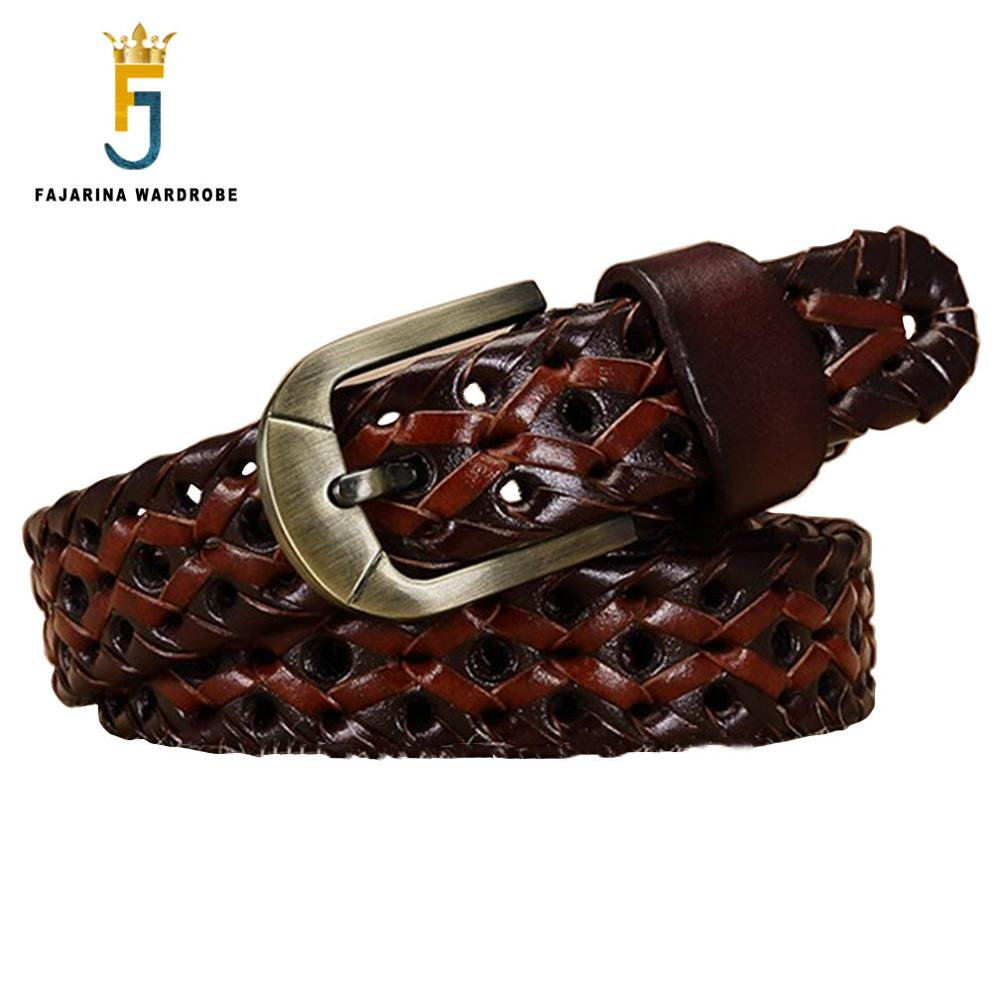 FAJARINA Unisex Retro Styles Fashion Cow Skin Braid Leather Belt Pin Buckle Metal Cowhide Belts for Couple 2.5cm Wide SFJ17