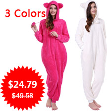 Ladies Plus Size Hooded Sleepwear Kigurumi Onesie With Animal Ears Fluffy Snuggle Fleece Winter White Pajama Onesie For Women