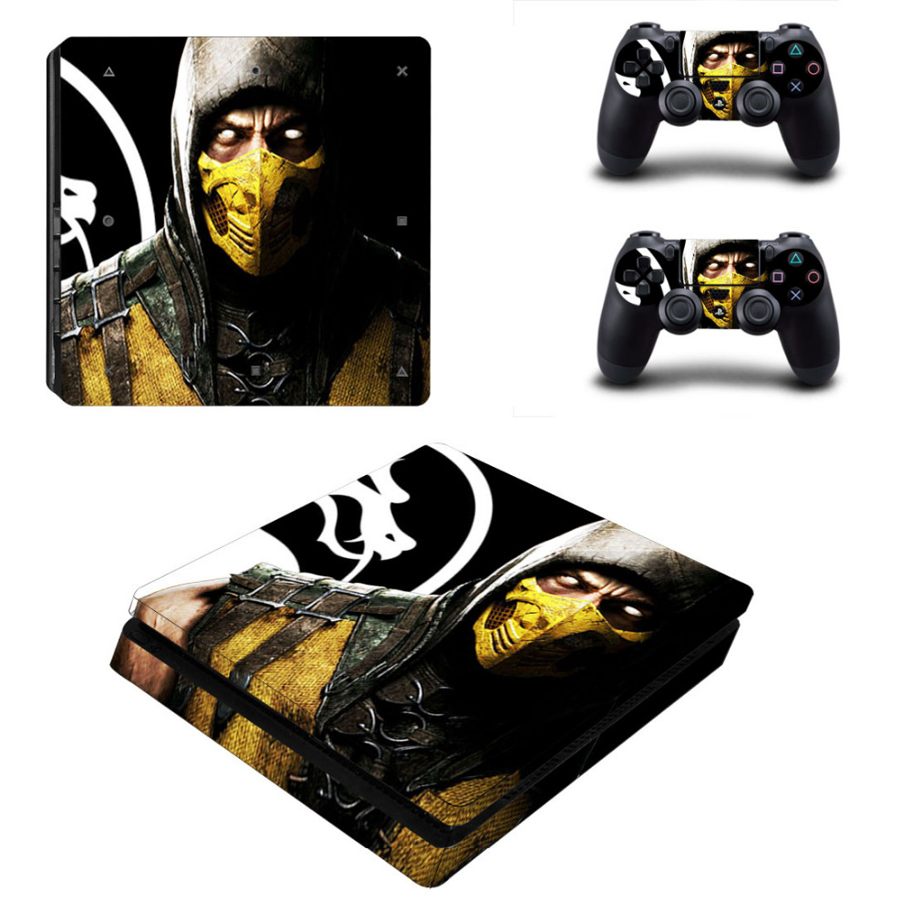 Game Mortal Kombat PS4 Slim Skin Sticker Decal for Sony PlayStation 4 Console and 2 Controller Skin PS4 Slim Skins Sticker Vinyl