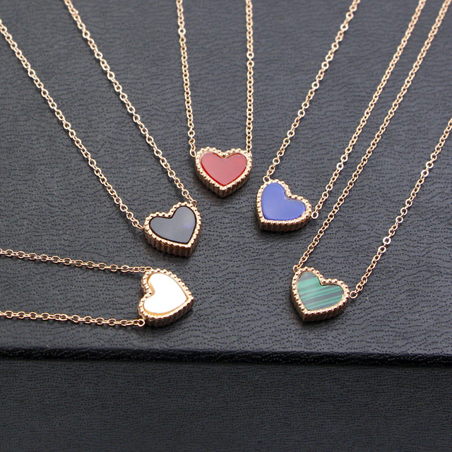 e3cf444423c8 YUN RUO Rosa Color oro dos lados corazón colgante collar para mujer moda  Acero inoxidable joyería