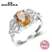 Hot Sale Luxury Women Ring 2ct High Quality 100 Natural Citrine Ring Real 925 Sterling Silver