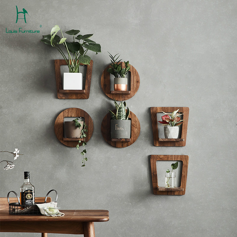 Louis Fashion Plant Shelves Black Walnut Wooden Flower Solid Wall Flower Rack Living Room Potted Balcony Chlorophytum Plant