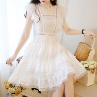 Aihuyigui 2019 summer sweet elegant layered back hollow out dress women bow butterfly sleeve cake lace chiffon dress dr379