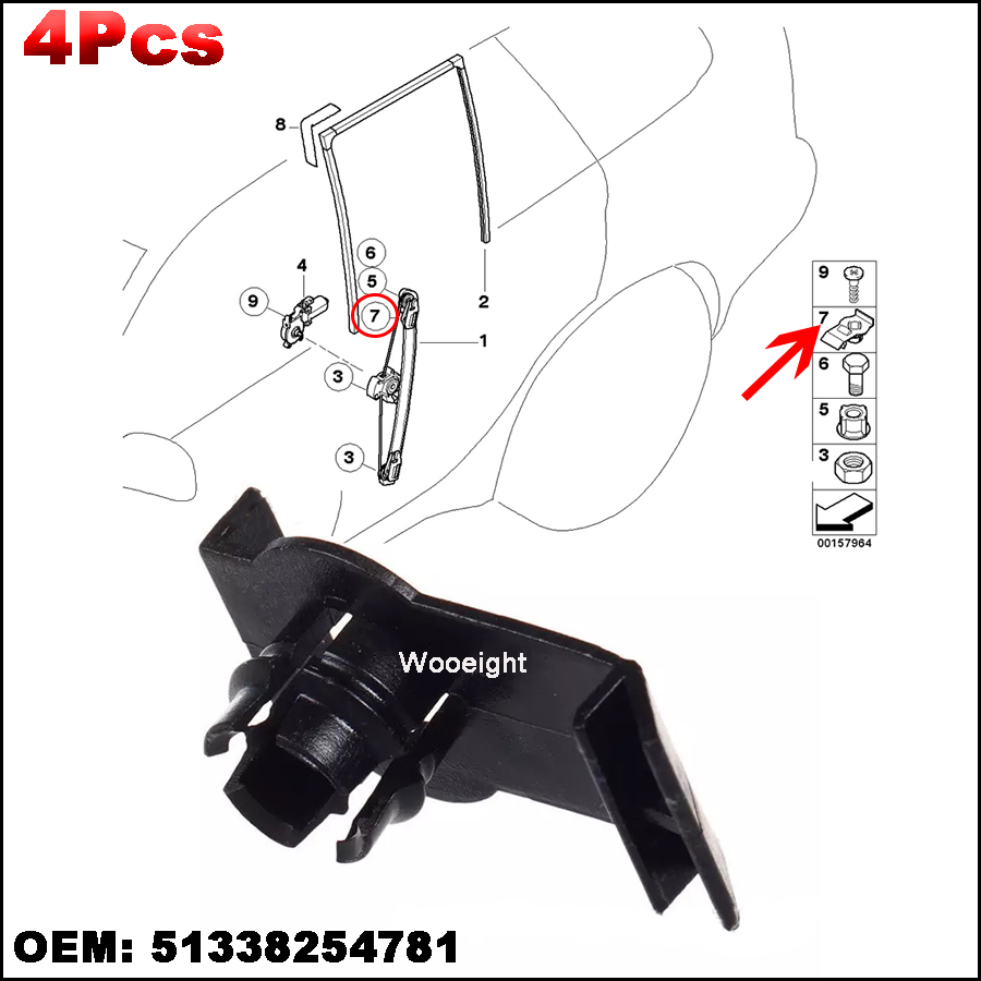4Pcs 51338254781 Front Left / Right Window Regulator Retaining Clip Fits For BMW E53 X5 2000 2006 Bracket Guide Clips-in Auto Fastener & Clip from Automobiles & Motorcycles