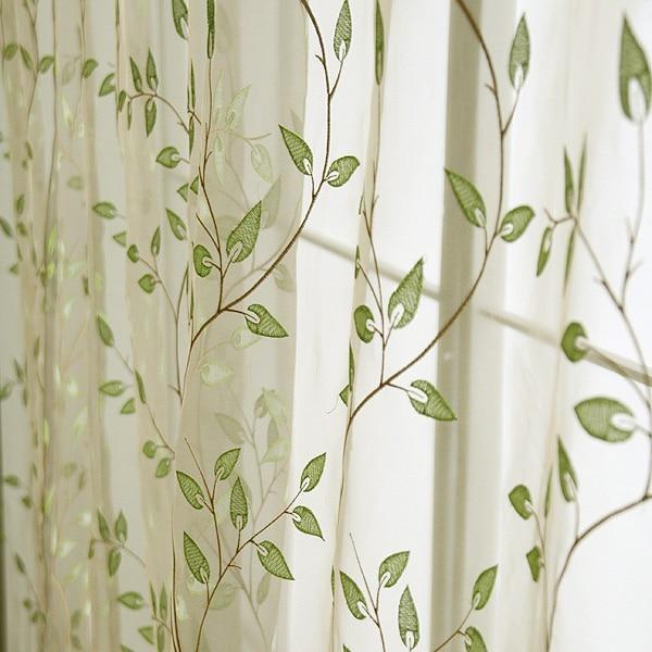 op maat gemaakte geborduurde voile gordijn tules pure groene bladeren gordijnen voor de woonkamer in op maat gemaakte geborduurde voile gordijn tules pure