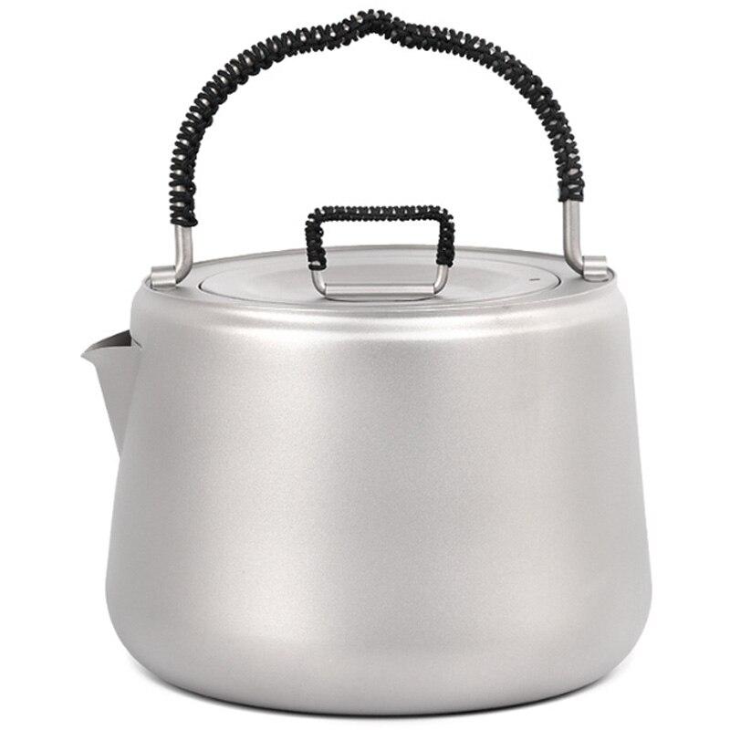 1.4L Titanium Tea Pot Ultralight Outdoor Camping Hiking Water Kettle Coffee Pot Teapot Kettle Pot Outdoor Kettle