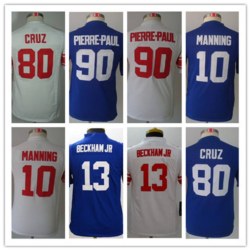 Football Jersey Kids Youth Authentic  10 Eli Manning  13 Odell Beckham Jr.  80  Victor Cruz  90 Jason Pierre Paul-in America Football Jerseys from Sports  ... 6f67d0c17