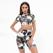 Fitness Two Pieces Set Women Bodycon Short Sleeve Crop Top Shorts Sets Casual 2 Chain print tracksuits Sportswear