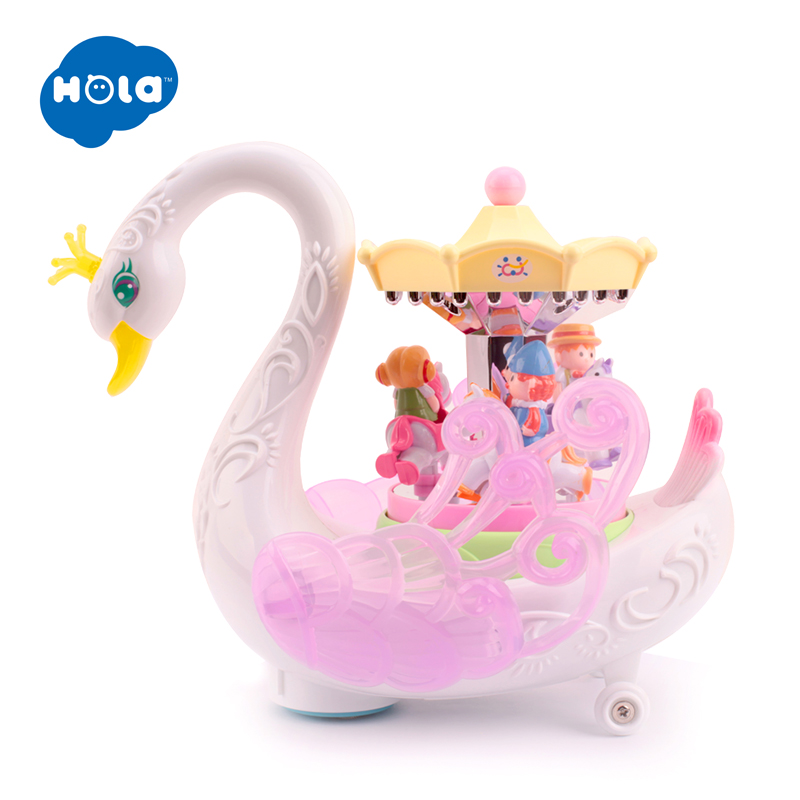 HOLA 536 Kids Electronic Pet Flashing Musical Cartoon Electric Universal Swan Carousel Musical Box Educational Toys for Children in Electronic Pets from Toys Hobbies
