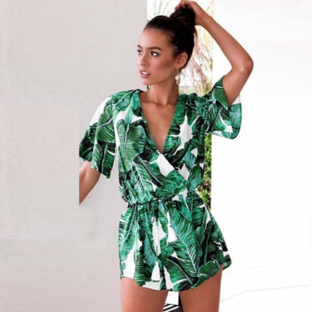 Welp Nieuwe Mode Vrouwen Zomer Strand Groen Print Jumpsuit Clubwear LV-01