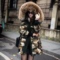 warm down jacket coat women thicken slim camouflage down coat outerwear medium long female winter jacket DX065