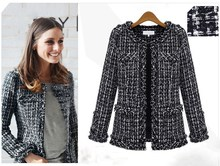 Autumn Winter Women Jacket Frayed Slim Checkered Tweed Coat Casual O-Neck Plaid Outwear
