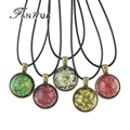 FANHUA  Bohemian Style Maxi Necklace Black Pu Leather Chain with Colorful Acrylic Flower Pattern Round Pendant Girly Necklace