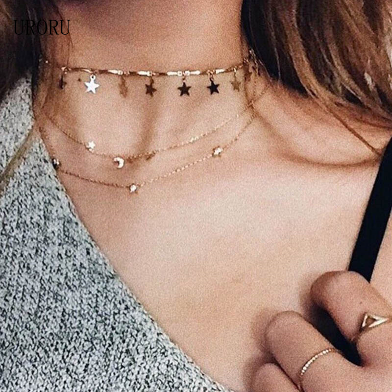 URORU Gold Silver Color Tiny Star Choker Necklace for Women Necklaces Pendants Simple Boho Fashion Jewelry Gifts