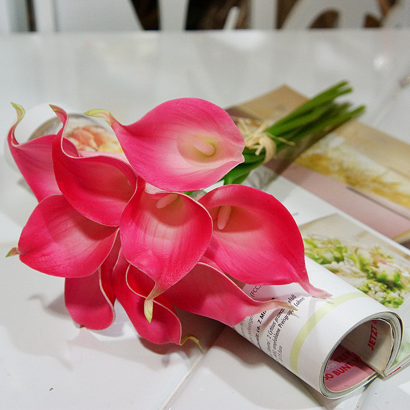 Aliexpress Buy 9pcs Fuschia Wedding Flowers Real Touch Calla Lilies Artificial Latex Centerpieces Decor From Reliable