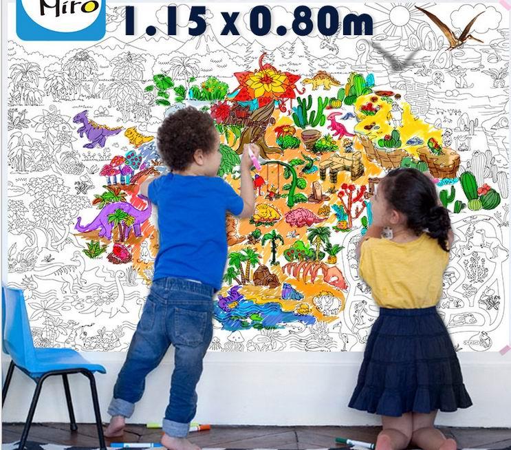 115 * 80 cm Barn Barn super målare / baby stor ritning papper jätte färgande affisch leksaker / Pojkar flickor födelsedagspresent, gratis frakt