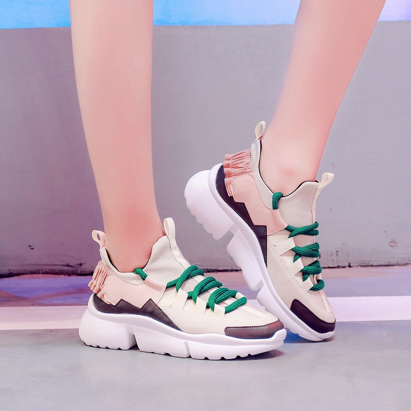 ... Fashion Brand Sneaker chaussure Female Lady Cross EARTH footware Shoes  tied Platform Girl Breathable STAR Women ea5e7a49479c